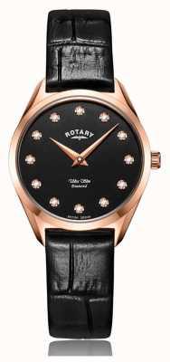 Rotary Orologio ultra sottile da donna in oro rosa con diamanti LS08014/04/D