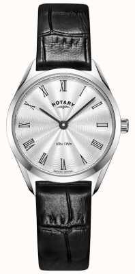 Rotary Orologio da donna in pelle argento ultra sottile LS08010/01