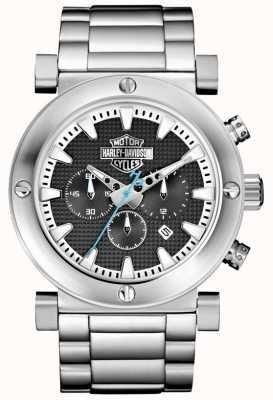 Harley Davidson Cronografo da uomo | bracciale in acciaio inossidabile | quadrante nero 76B166