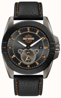 Harley Davidson Uomini per lui! | cinturino in pelle nera | quadrante grigio 78B182