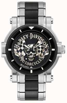 Harley Davidson Teschio e bandiere maschili | bracciale in acciaio bicolore | quadrante nero 78A124
