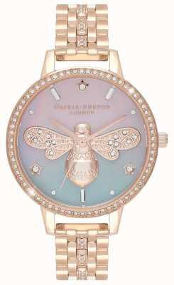 Olivia Burton Ape scintillante da donna | bracciale in acciaio oro rosa | set di cristalli OB16GB04