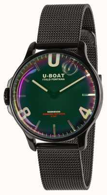 U-Boat Darkmoon 38mm | braccialetto di maglia nera | quadrante arcobaleno 8470/MT
