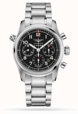Longines Spirit cronografo automatico quadrante nero in acciaio inossidabile L38204536