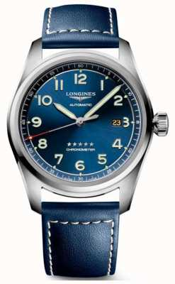 Longines Spirit blue dial 42mm automatico in pelle blu L38114930