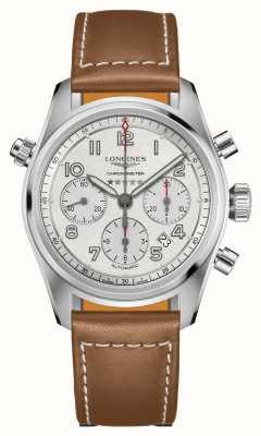 Longines Spirit cronografo automatico quadrante argento cinturino marrone L38204732