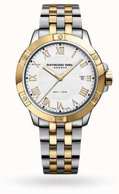 Raymond Weil Tango maschile | 41mm | bracciale in acciaio bicolore | quadrante bianco 8160-STP-00308