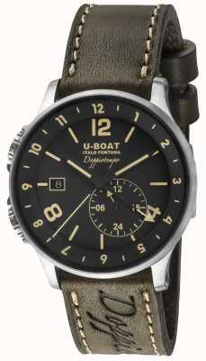 U-Boat Quadrante nero doppio fuso orario doppiotempo 1938 8400/A