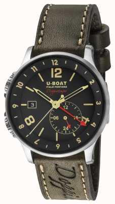 U-Boat Quadrante nero doppio fuso orario doppiotempo del 1938 8400/A
