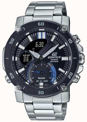 Casio Edifice | bracciale in acciaio inossidabile | quadrante nero / blu | ECB-20DB-1AEF