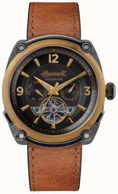 Ingersoll Il michigan | carica orologi | cinturino marrone quadrante nero I01104