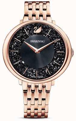 Swarovski   chic cristallino   bracciale pvd oro rosa   quadrante glitter nero   5544587