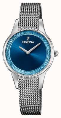 Festina Ceramica da donna | bracciale bicolore acciaio / ceramica | quadrante blu F20494/2