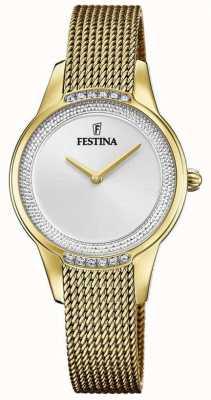 Festina Bracciale da donna in maglia d'acciaio placcato oro | quadrante in cristallo argentato F20495/1