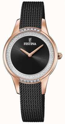 Festina Bracciale donna in maglia d'acciaio nera | quadrante con cristalli neri F20496/2