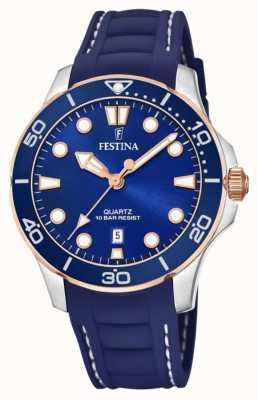 Festina Cinturino in silicone blu da donna | quadrante blu F20502/2