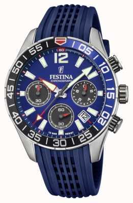 Festina Cronografo da uomo | cinturino in silicone blu | quadrante blu F20517/1