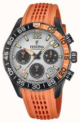 Festina Cronografo da uomo | cinturino in silicone arancione | quadrante grigio F20518/1