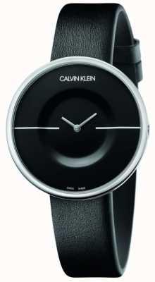 Calvin Klein Mania   cinturino in pelle nera da donna   quadrante nero KAG231C1