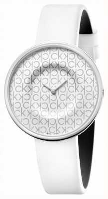 Calvin Klein Mania   cinturino in pelle bianca da donna   quadrante bianco KAG231LX