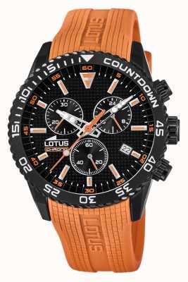 Lotus Cinturino da uomo in silicone arancione | quadrante cronografo nero L18672/5