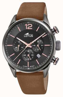 Lotus Cinturino da uomo in pelle marrone | quadrante cronografo nero L18687/2