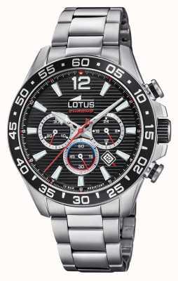 Lotus Bracciale da uomo in acciaio inossidabile | quadrante cronografo nero L18696/4