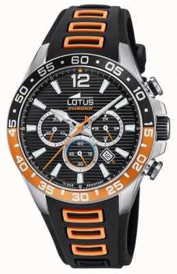 Lotus Cinturino da uomo in silicone nero / arancione | quadrante cronografo nero L18697/1