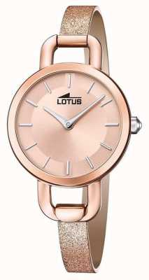 Lotus Cinturino in pelle glitterata da donna | quadrante in oro rosa L18747/1