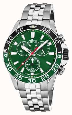 Lotus Bracciale da uomo in acciaio inossidabile | quadrante verde | lunetta verde / nera L18765/2