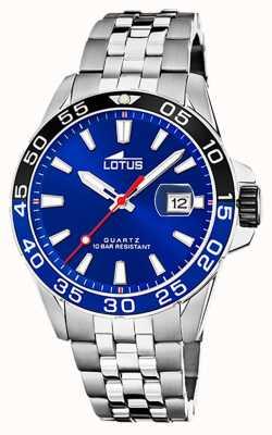 Lotus Bracciale da uomo in acciaio inossidabile | quadrante blu | lunetta nera / blu L18766/1