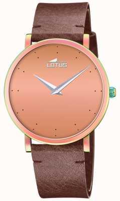 Lotus Cinturino in pelle marrone da donna | quadrante in oro rosa L18778/2
