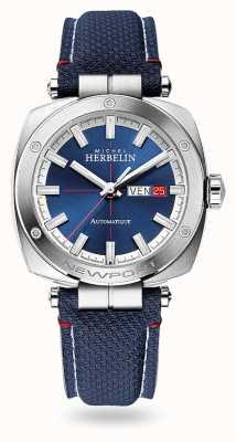 Michel Herbelin Newport heritage automatico | cinturino in pelle blu | quadrante blu 1764/42