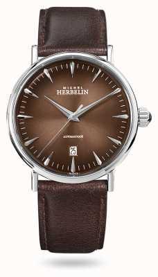 Michel Herbelin Ispirazione automatica | cinturino in pelle marrone da uomo | quadrante marrone 1647/AP27