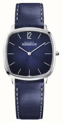 Michel Herbelin Città | cinturino in pelle blu da uomo | quadrante blu 16905/15BL