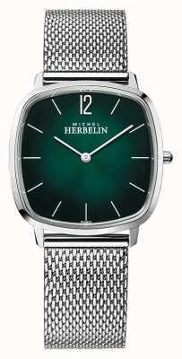 Michel Herbelin Città   bracciale da uomo in maglia d'acciaio   quadrante verde 16905/16B