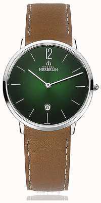 Michel Herbelin Città | cinturino in pelle marrone da uomo | quadrante verde 19515/16NGO