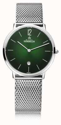 Michel Herbelin Città | bracciale da uomo in maglia d'acciaio | quadrante verde 19515/16NB