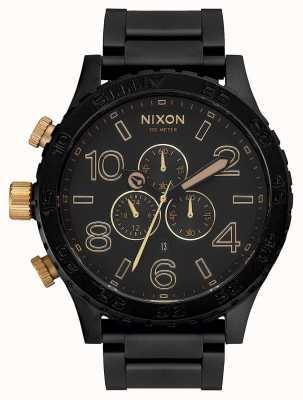 Nixon 51-30 crono   nero opaco / oro   braccialetto ip nero   quadrante nero A083-1041-00