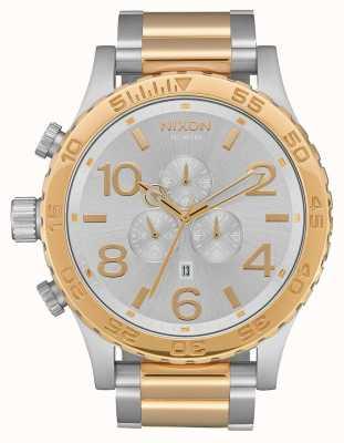 Nixon 51-30 crono | argento / oro | braccialetto bicolore | quadrante argentato A083-1921-00