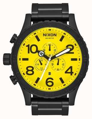 Nixon 51-30 crono | tutto nero / giallo | bracciale in acciaio ip nero | quadrante giallo A083-3132-00