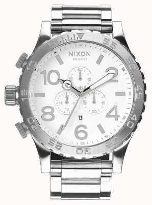 Nixon 51-30 crono | lucido / bianco | bracciale in acciaio inossidabile | quadrante bianco A083-488-00
