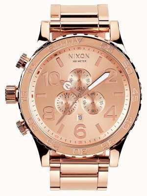 Nixon 51-30 crono | tutto oro rosa | braccialetto ip oro rosa | quadrante in oro rosa A083-897-00
