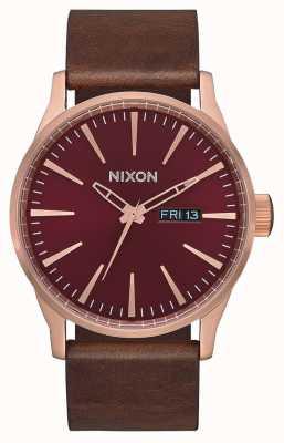 Nixon Sentry leather | oro rosa / bordeaux / marrone | cinturino in pelle marrone | A105-3211-00