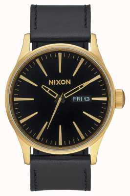 Nixon Sentry leather | oro / nero | cinturino in pelle nera quadrante nero A105-513-00