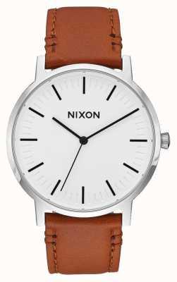 Nixon Porter pelle | raggio di sole bianco / sella | cinturino in pelle marrone | quadrante bianco A1058-2442-00