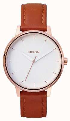 Nixon Pelle Kensington | oro rosa / bianco | cinturino in pelle marrone | quadrante bianco A108-1045-00