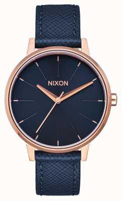 Nixon Pelle Kensington | blu navy / oro rosa | cinturino in pelle blu | quadrante blu A108-2195-00