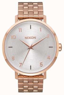 Nixon Freccia | tutto oro rosa / bianco | bracciale in acciaio con ip oro rosa | quadrante argentato A1090-2640-00