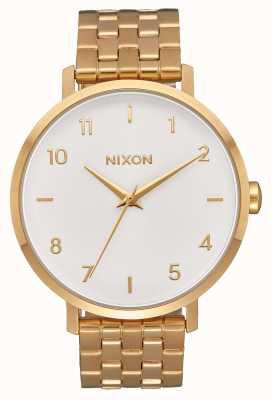 Nixon Freccia | tutto oro / bianco | bracciale in acciaio ip oro | quadrante bianco A1090-504-00